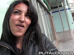 I stop this babe in the street and interview her with some made up jibby-jabby... What this brunette does not know is that what we really want is to put some cock in her pussy. She finds out later and likes the idea!