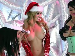 Perverted and super busty hot sexpots are ready for nude Xmas party