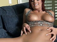 Jayden Cole does striptease before she sticks vibrator in her fuck hole