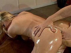 Harmony Rose gets her ass oiled up and fucked hard