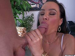 Hot bodied MILF Lisa Ann with monster tits is fuck hungey again, She gets her many times used asshole dldo fucked before she take dudes thick meat pole in her hot vagina.