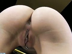 Blonde Erica Fontes strips down to her bare skin to play with herself naked
