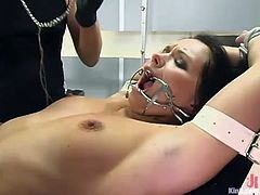 Bald headed dude teases fixed immobilized Katja Kassin's pussy in BDSM way