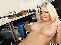 Riley Evans with huge boobs is in heaven fucking with hard cocked bang buddy Billy Glide