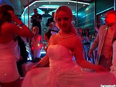 A bride sucks a guy's cock at her bachelorette party