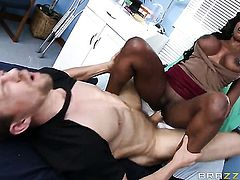 Ebony Diamond Jackson wraps her lips around Erik Everhards erect worm before anal fun