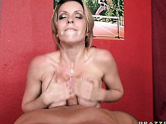 Courtney Cummz with gigantic melons sucks like it aint no thing in blowjob action with Mick Blue
