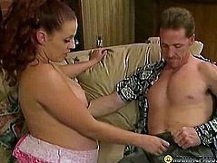 Red-haired babe sucks his cock