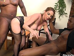 Two black spicy cocks for a cock thirsty hot cougar