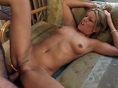Flexible super stunning blonde babe gets fucked in standing position