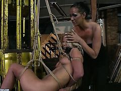 Blonde Bianka Lovely with giant tits has lesbian fun with lesbian Mandy Bright