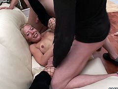 Emma Blonde gets all her holes filled and fucked by a bunch of horny amateur men.