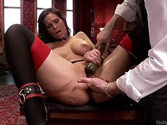 Nice ass brunette in pantyhose gets her ass spanked by a random chick and gets her pussy vibrated by a guy. While she is receiving a fingering, another brunette starts sucking a cock nearby, which gets into the first babe's ass. As the babe enjoys anal, second slut keeps her mouth open, to gets face fucked!