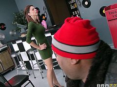 Dulce is a cute looking brunette, who is not so innocent when it comes to play with a cock. In a restaurant, she sees Ramon's big boner and starts sucking it publicly. However, this lovebirds move into a private place and Ramon undress her, to keep fucking her throat, before pounding her pussy.