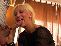Blonde babe Stella loves making men fuck her tight pussy hard.
