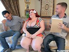 Juan and Tony are looking for a new place to rent. Eliza is renting out 2 rooms at her home and she meets with them to show the rooms. 2 dick dicks are always a good idea for this amazingly sexy BBW. She questions the 2 friends about their daily activity when Juan discovers her vibrator. She gets embarrassed for not for long. She gives these two the proper welcome to the home. She sucks and fucks the shit outta them! Watch this sexy plumper get her mouth fucked while she gets analed deep and proper.