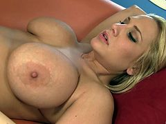 Cute blonde with big boobs sucking a huge black cock