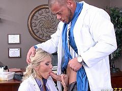 Audrey is a sexy doctor, who is doing naughty stuffs with another co-worker. In her sexy stockings, babe is taking Marco's cock deep in her throat as well, as getting her pussy licked, while she bares her wonderful tits. Horny guy then starts to fuck her throat, before nailing her cunt.