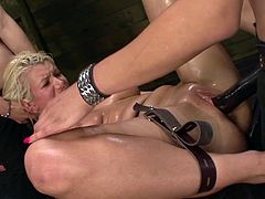 Visit official Strapon Squad's HomepageSleazy babes with sexy nude formes epxosed are having a blast by cracking eachother's wet vags during top bondage threesome