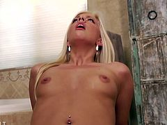 Blonde babe Jessie Volt has a nice round ass. This horny slut doesnt mind taking a big hard dong in all her holes. Watch this blonde beauty getting fucked in her tight trimmed pussy first and then getting drilled in her tight asshole. Enjoy!