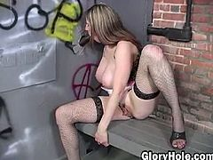 Kitty Lee's fat tits got so much attention as she walked into her secluded area. The gawkers and haters were all noticing some of the best tits ever captured on camera. Kitty Lee knows she's no longer in Kansas by the wall behind her that's covered in gang member calling cards. She uses her g-string to get a cheap thrill by running the front of it up her pussy as it tickles her clit. The look on her face says she hasn't had a black dick in her mouth for quite some time. After masturbating to the point where she nearly passes out from exhaustion Kitty's mouth takes in a footlong black kielbasa.