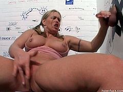 Jerking off and sucking a small cock from a glory hole