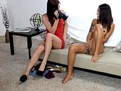 Tysen catches Lindsey feeling herself up alone in the room. She is instantly turned on by Lindsey's pussy and body. She offers to lick her down there and also fingers her juicy cunt. But both of them know, that they need a man to really have fun. Not that they don't like each other, it's just that they needed a dick to suck. The two make their man happy and he drills them in return.