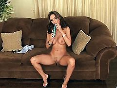 Crissy Moran with massive tits and clean beaver with soaking wet bush goes solo