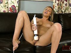 Blonde asian Kennedy Leigh touches her honeypot and jugs gently