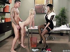 Clover explores the depth of glamorous Ash Hollywood  Brandi Loves throat with his dick