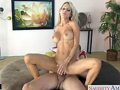 Seductive blonde babe with tattoos Sarah Jessie suck and ride a large dick