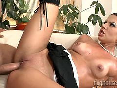 A naughty brunette slut bends over the couch, to show off her appetizing buttocks. She appears to enjoy being banged from behind and wants more... Click to see smokey Rihanna with legs widely spread. Her stockings and high heels are a huge turn on. Enjoy the sexy details.