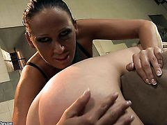 Brunette slut Ann Marie La Sante with juicy knockers is in lesbian sexual ecstasy with Mandy Bright