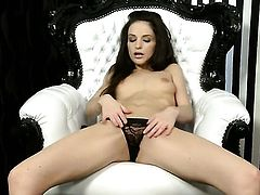 Ann Marie La Sante with small breasts and bald pussy has a great time toying her slit