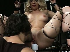 Blonde Gina D wraps her lips around guys sturdy meat stick
