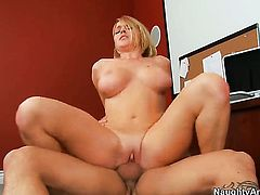 Krissy Lynn with juicy tits and hairless pussy enjoys another sex session with Derrick Pierce