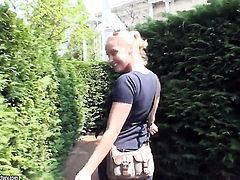 Blonde hooker Kathia Nobili stroking her love tunnel
