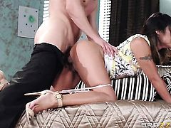 Exotic Kaylani Lei shows oral sex tricks to Mick Blue with desire
