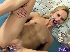 Tight sexy blonde with a sweet ass humiliated by doctor