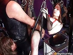 A man in leather pants fucks girl
