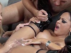 Busty milf housewife has a threeway with her husband and a young female hooker. Watch these smoking hot mature babes Kimberly Kendall and Simone Sonay sucking and fucking this fat cock. Enjoy!