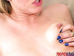 Blonde with big breasts and smooth bush shows her private parts before she masturbates