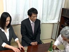 Old fart fucks a perfect Japanese MILF as hard as he can