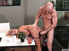 Johnny Sins uses his rock hard pole to make Tasha Reign with juicy tits happy