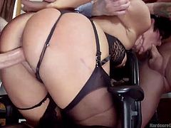 A short-haired brunette dressed in sexy lingerie entertains a room full of horny men. The five guys take turns to fuck her hard from behind, while Rose enjoys the taste of cocks, as she undoubtedly gets to suck each of them... Click to see the hardcore details!