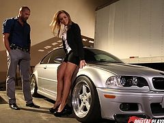 Mia is a blonde-haired bitch, who looks great wearing sexy office clothing. In the guy's opinion, she looks even better when naked. Click to see the slutty lady down on knees, sucking cock and getting pounded from behind, while bending over the hood of the car. Enjoy the details.