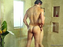 What can be more relaxing, than a nice warm and soapy bath in the tub with a horny seductive lady? Sarah's invitation seems to be a real success, as her partner undresses and follows her in the bathroom. Click to watch the busty milf spoiling the guy with a kinky massage and wait for the hardcore details!