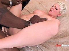 Groaning short haired blonde nympho Claudia Downs enjoys interracial fuck