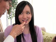 Perverted Asian chick Yuka Wakatsuki allows co-workers to feel up her tits