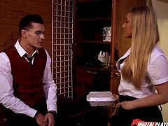 Two handsome waiters meet this sexy blonde, who is flirting out, to choose the right one to her bed. When she finds the one, she take him to the room and together they undress, while babe gets her nice titties licked. Then this hot babe gives him a deep throat, as a prelude of her amazing blowjob.